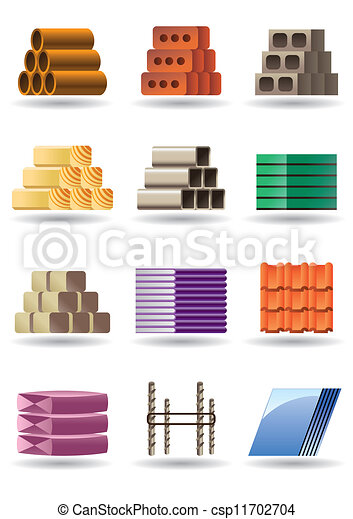 Vector clipart of building constructions materials for Materials needed to build a house