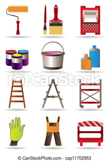 vecteur clipart de peinture construction outils peinture et construction csp11702953. Black Bedroom Furniture Sets. Home Design Ideas