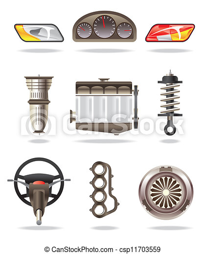 Clipart Vector of Car parts and accessories - vector illustration ...