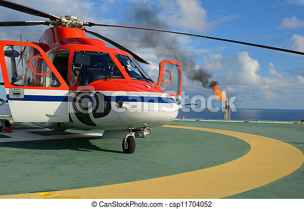 Helicopter park on oil rig - csp11704052