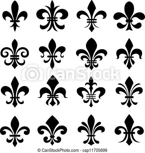 Vecteurs eps de ensemble classique symbole de fleur lys classique csp11705699 - Dessin fleur de lys royale ...