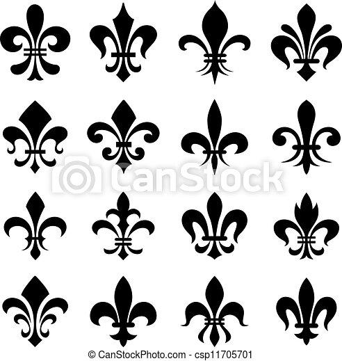 Clipart vecteur de ensemble classique symbole de fleur lys classique csp11705701 - Dessin fleur de lys royale ...