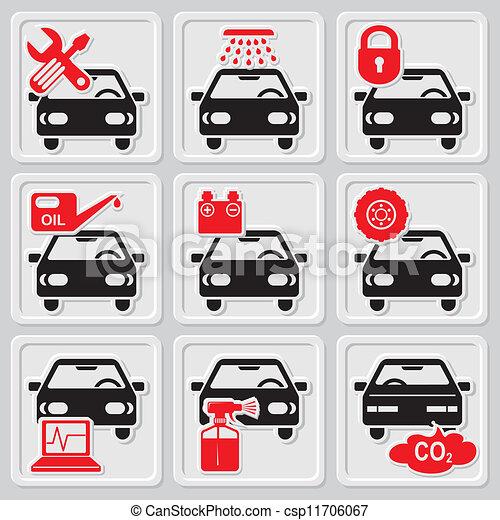 Clip Art Vector of auto repair icons - set vector icons of auto repair ...