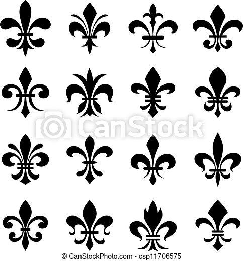 Illustrations vectoris es de ensemble classique symbole de fleur lys classique - Symbole fleur de lys ...