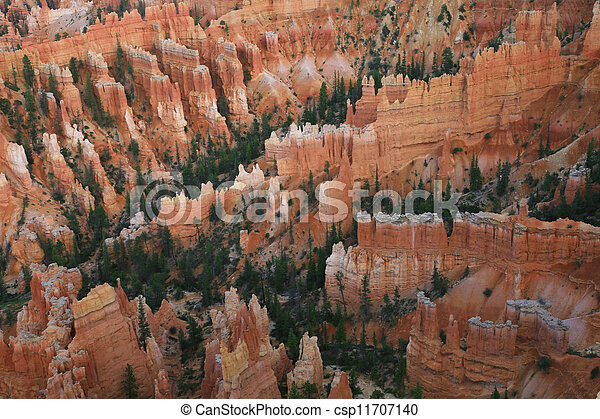 Great spires carved away by erosion in Bryce Canyon National Park, Utah, USA. - csp11707140