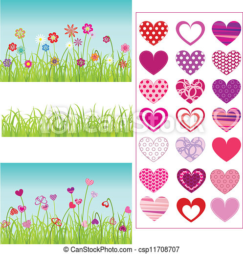 set of grass, flowers, hearts - csp11708707