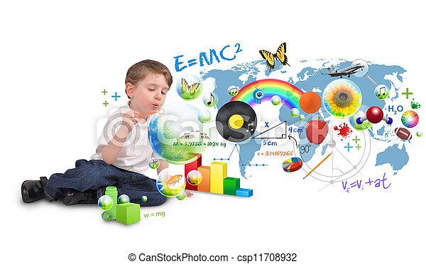 Smart Genius Boy Blowing Scinec and Art Bubbles - csp11708932