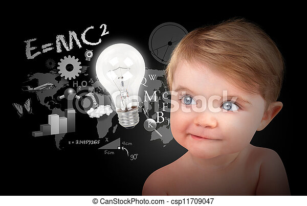 Young Science Education Baby on Black - csp11709047