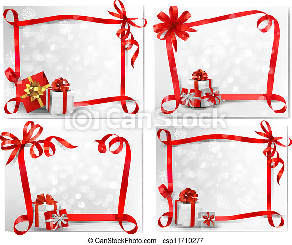 Set of holiday backgrounds with red gift bow with gift boxes. Vector illustration. - csp11710277