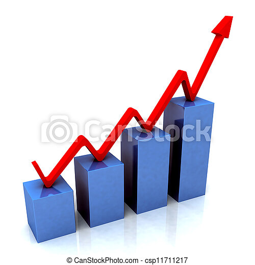 Blue Bar Chart Shows Budget Versus Actual - csp11711217