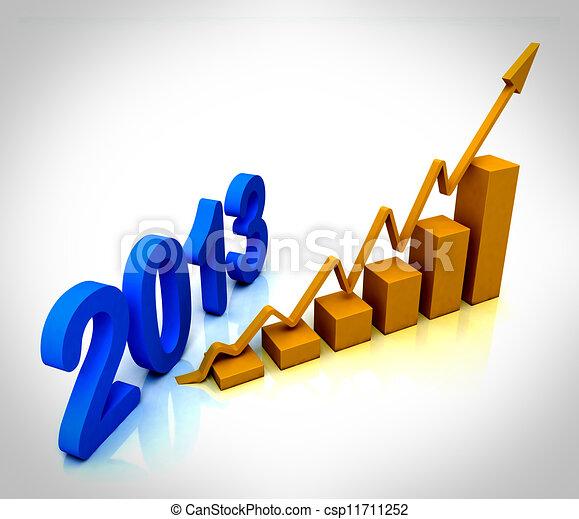 2013 Gold Bar Chart Shows Budget  - csp11711252