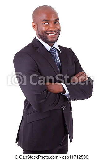 African American business man  with folded arms - csp11712580
