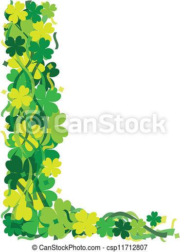Green Leaf Border Line Four Leaf Clover Leaf Border