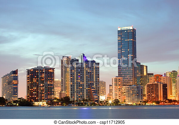 Miami Florida sunset over downtown - csp11712905