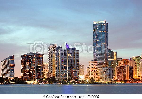 Miami Florida sunset over downtown - csp11712905