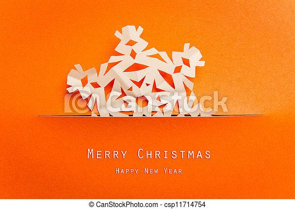 Vintage Christmas postcard with true paper snowflakes - csp11714754