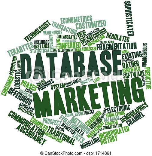 Stock Illustration of Database marketing - Abstract word cloud for ...