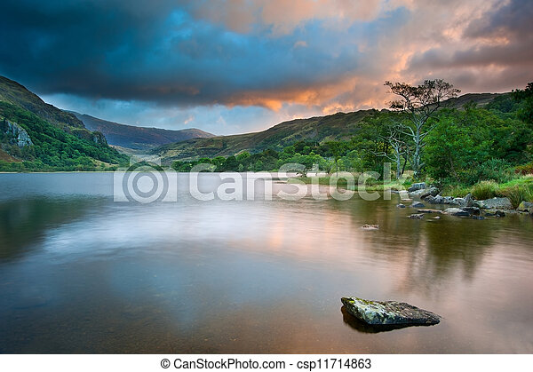 Beautiful sunrise over Llyn Gwynant in Snowdonia National Park - csp11714863
