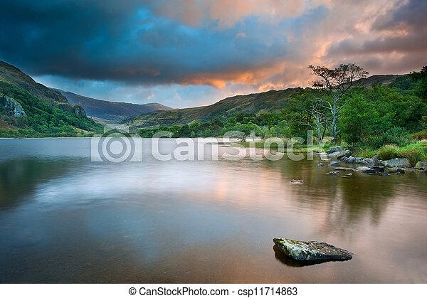 Beautiful sunrise over Llyn Gwynant in Snowdonia National Park - csp11714863