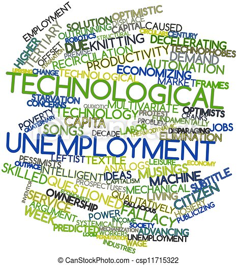 Clip Art Of Technological Unemployment Abstract Word