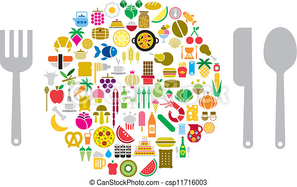 Vector Clipart of Let's eat! - Icons of food and beverage ...  Vector Clipart ...