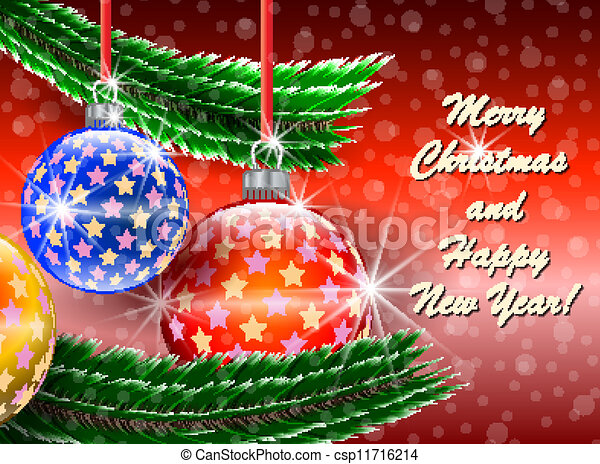 Vector Clip Art of Merry Christmas and Happy New Year greetings card. Vector... csp11716214 ...