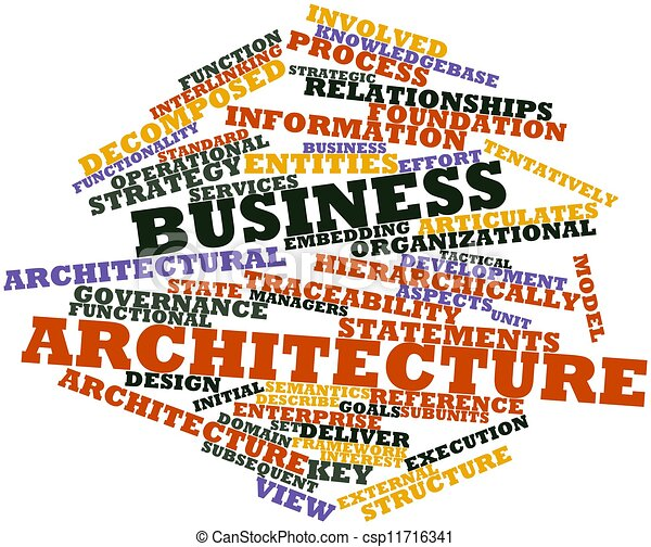 Drawing Of Business Architecture Abstract Word Cloud For