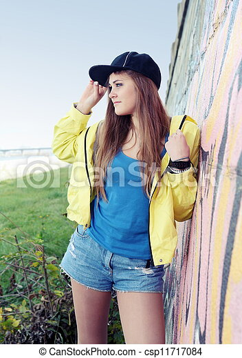 Urban Teenager Girl Young Adult Woman on Street - csp11717084