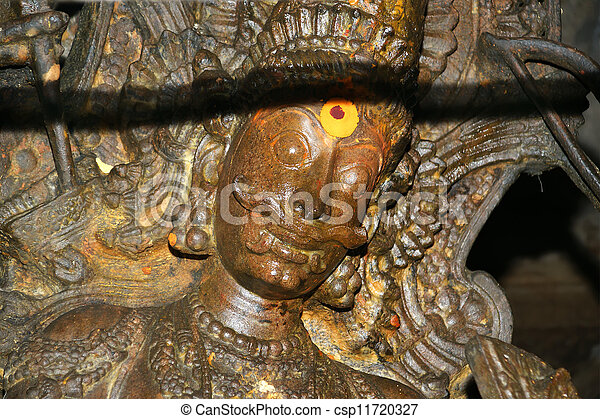The traditional Hindu religion sculpture. Inside of Meenakshi hindu temple in Madurai, Tamil Nadu, South India. - csp11720327