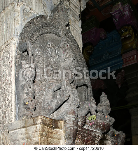 The traditional Hindu religion sculpture. Inside of Meenakshi hindu temple in Madurai, Tamil Nadu, South India. - csp11720610