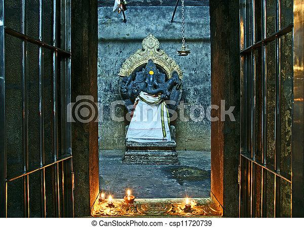 The traditional Hindu religion sculpture. Inside of Meenakshi hindu temple in Madurai, Tamil Nadu, South India. - csp11720739