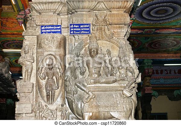 The traditional Hindu religion sculpture. Inside of Meenakshi hindu temple in Madurai, Tamil Nadu, South India. - csp11720860