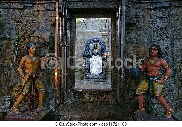 The traditional Hindu religion sculpture. Inside of Meenakshi hindu temple in Madurai, Tamil Nadu, South India. - csp11721160