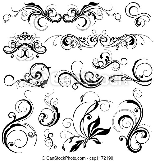 Stock Illustration Of Floral Design Elements Csp1172190 Search Clipart Illustration Drawings