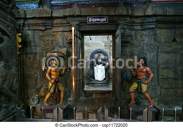 The traditional Hindu religion sculpture. Inside of Meenakshi hindu temple in Madurai, Tamil Nadu, South India. - csp11722020