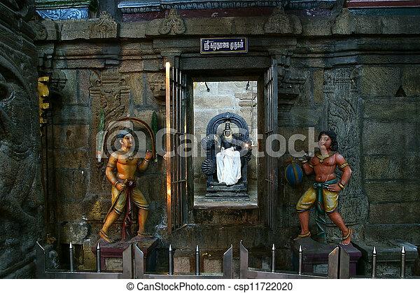 The traditional Hindu religion sculpture. Inside of Meenakshi hindu temple in Madurai, Tamil Nadu, South India. - csp11722020