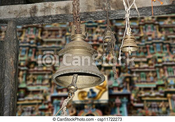 Traditional symbols of the Hindu religion - the bells. Inside of Meenakshi hindu temple in Madurai, Tamil Nadu, South India.   - csp11722273