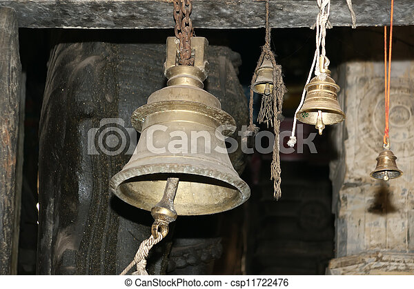 Traditional symbols of the Hindu religion - the bells. Inside of Meenakshi hindu temple in Madurai, Tamil Nadu, South India.   - csp11722476