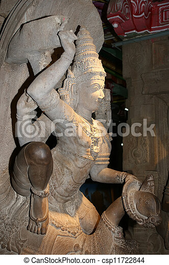 The traditional Hindu religion sculpture. Inside of Meenakshi hindu temple in Madurai, Tamil Nadu, South India. - csp11722844