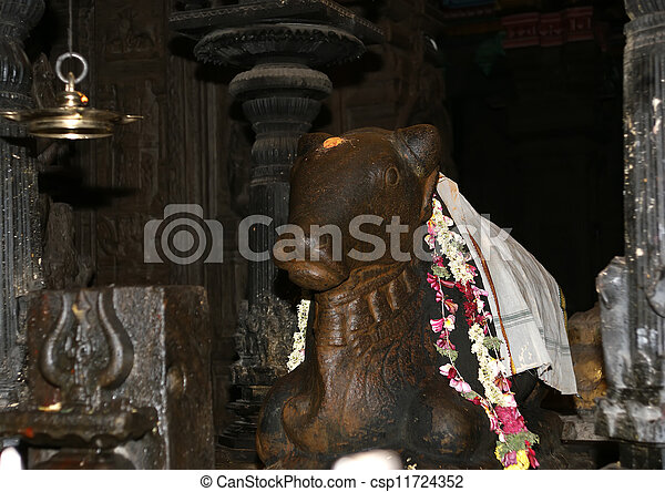 The traditional Hindu religion sculpture. Inside of Meenakshi hindu temple in Madurai, Tamil Nadu, South India. - csp11724352