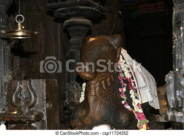 The traditional Hindu religion sculpture. Inside of Meenakshi hindu temple in Madurai, Tamil Nadu, South India. - csp11724352