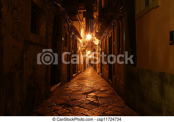 Ancient streets of Syracuse (Siracusa, Sarausa) at night-- historic city in Sicily, Italy - csp11724734