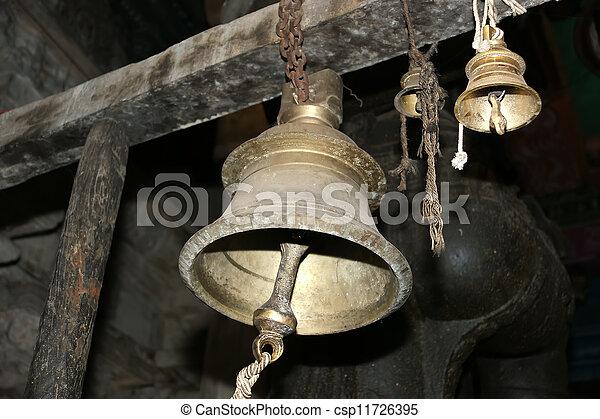 Traditional symbols of the Hindu religion - the bells. Inside of Meenakshi hindu temple in Madurai, Tamil Nadu, South India.   - csp11726395