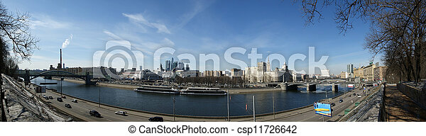 Moscow, Russia. View from the embankment of the Moskva River in the Kievsky train station, international business centre and bridges - csp11726642