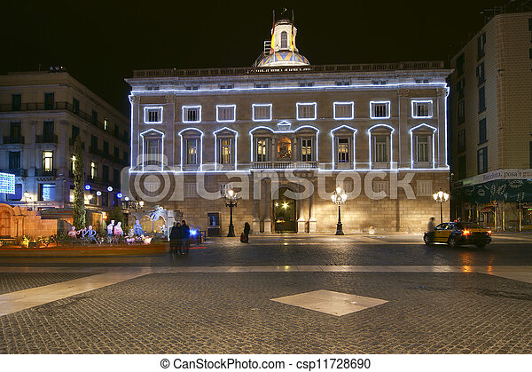 government Palace (Palau de la Generalitat) at night, Barcelona, Catalonia, Spain - csp11728690