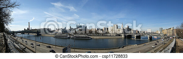 Moscow, Russia. View from the embankment of the Moskva River in the Kievsky train station, international business centre and bridges - csp11728833