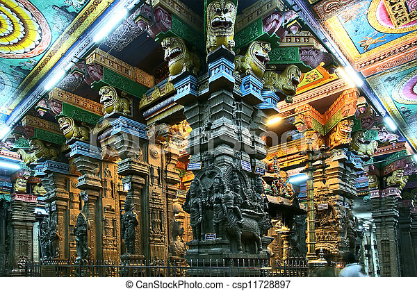 The traditional Hindu religion sculpture. Inside of Meenakshi hindu temple in Madurai, Tamil Nadu, South India. - csp11728897