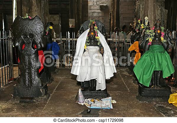 The traditional Hindu religion sculpture. Inside of Meenakshi hindu temple in Madurai, Tamil Nadu, South India. - csp11729098