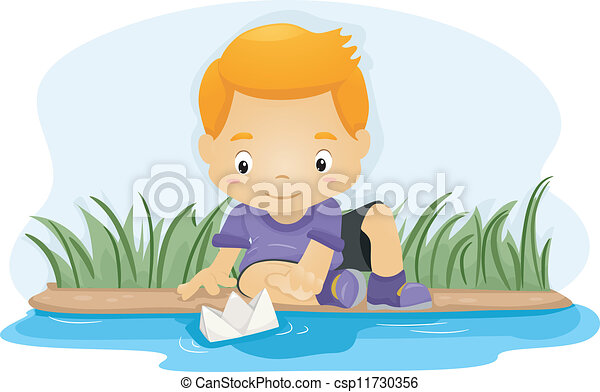 Vector of Paper Boat - Illustration of a Boy Pushing a Paper Boat ...