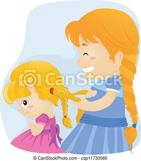 Clip Art Vector Of Big Sister Braids Illustration Of A